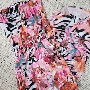 Jennifer Lopez Zebra and Floral Print MaxiDress XS